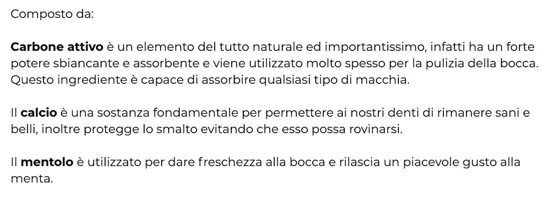 Ingredienti di Biosmile